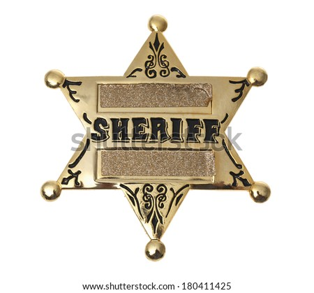 gold sheriff's badge on white  - stock photo
