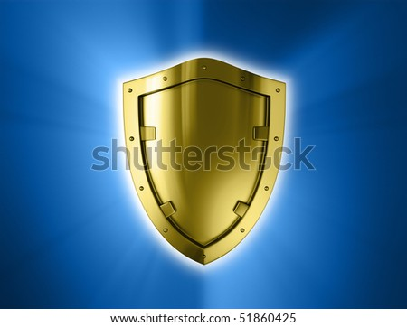 Gold shield. - stock photo