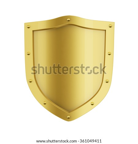 Gold Shield. Isolated on white background. 3D render - stock photo