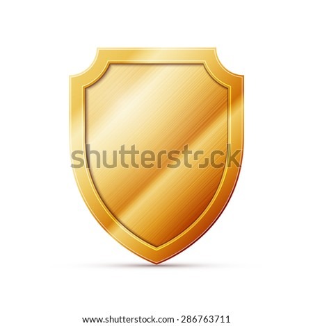 gold shield on a white background - stock photo
