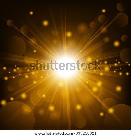 Gold shine with lens flare background - stock photo
