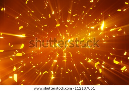 gold shiny confetti. computer generated abstract background - stock photo