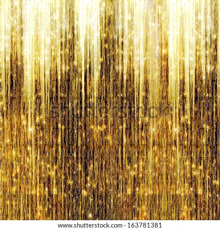 Gold Shooting Stars on abstract dark background - stock photo