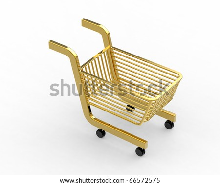Gold  Shoppingcart isolated on white