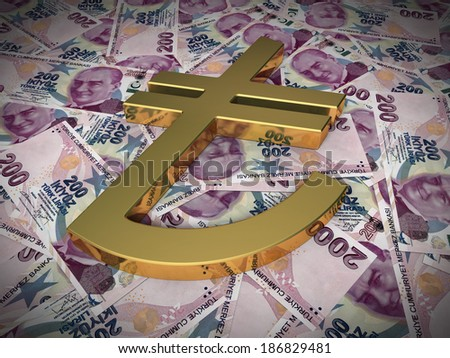 Gold sign on Two hundred tl (close-up) - stock photo