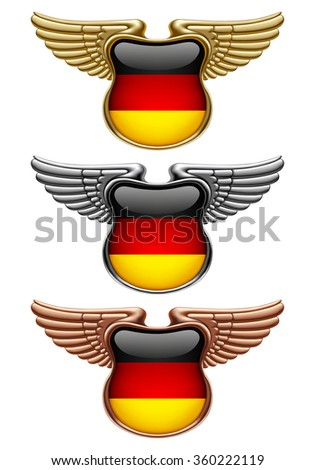 Gold, silver and bronze award signs with wings and Germany state flag - stock photo