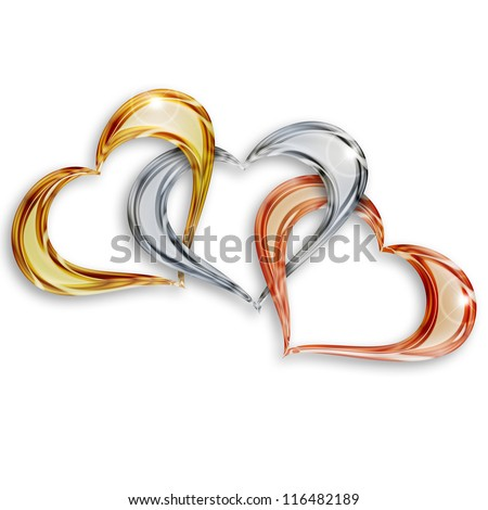 gold, silver and bronze hearts entwined on white background - stock photo