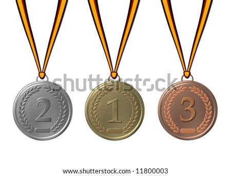 gold , silver, and bronze medal - stock photo