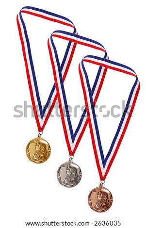Gold, Silver, and Bronze Medals - stock photo