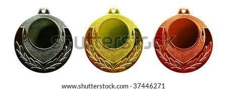 Gold silver and bronze medals isolated on white - stock photo