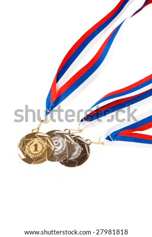 Gold, Silver, and Bronze Medals isolated on white background - stock photo