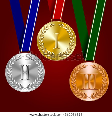 Gold, silver and bronze medals with laurel wreaths on dark red background. Contain the Clipping Path - stock photo