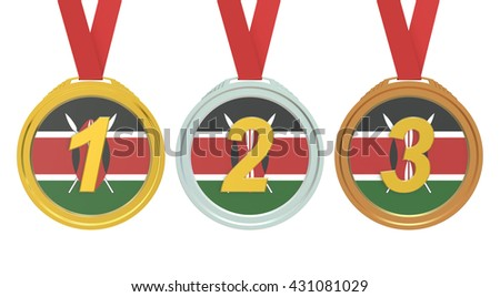 Gold, Silver and Bronze medals with Republic of Kenya flag, 3D rendering