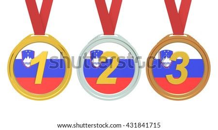 Gold, Silver and Bronze medals with Slovenia flag, 3D rendering
