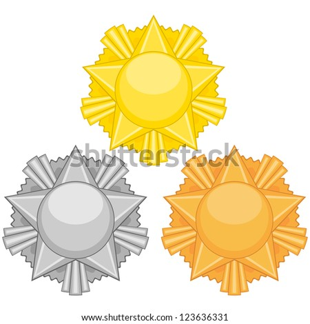 Gold, silver and bronze medals with star over white - stock photo
