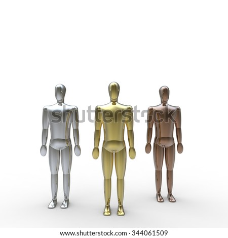 gold silver and bronze metal 3d figures on a white background