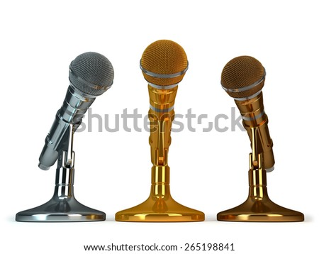 gold. silver and bronze microphones - stock photo