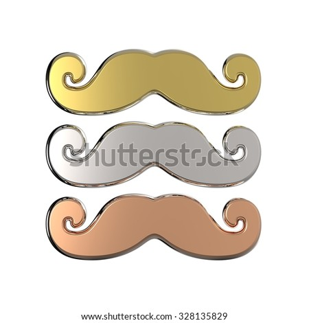 Gold, silver and bronze mustache. 3D render illustration isolated on white background - stock photo