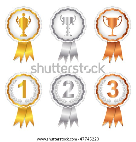 Gold, Silver and Bronze rosette badges with trophy and place numbers for 1st, 2nd and 3rd. A vector version of this image is also available in my portfolio. - stock photo