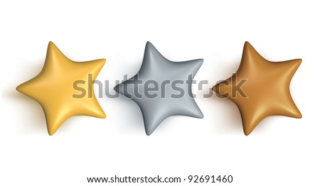 gold silver and bronze stars - stock photo