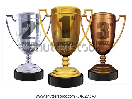 gold silver and bronze trophies - stock photo