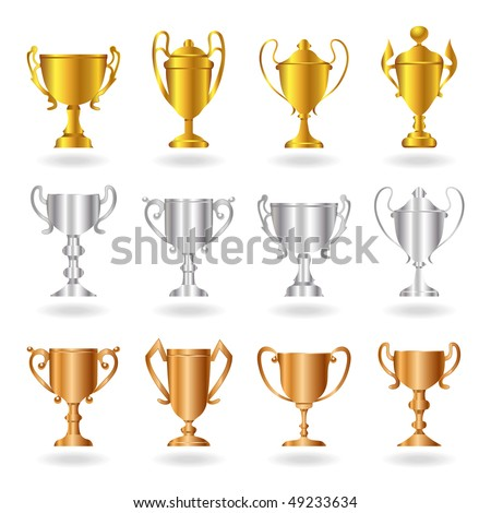 Gold, silver and bronze trophies or cups. A vector illustration version of this image is also available in my portfolio. - stock photo