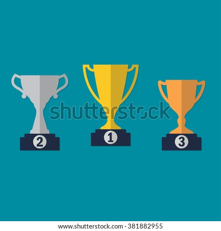 Gold, Silver and Bronze Trophy Cup on prize podium. First place award. Different champions or winners cups in flat style. - stock photo