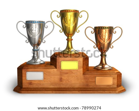 Gold, silver and bronze trophy cups on wooden pedestal isolated on white background - stock photo