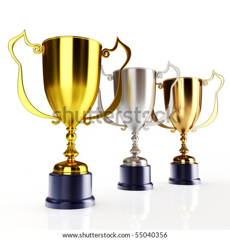 Gold silver and bronze trophy's (3d render) - stock photo
