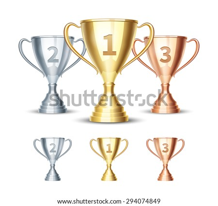 Gold, silver and bronze winner cup. Prize first third and second, winner sport cup