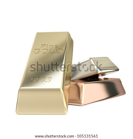 Gold, silver, bronze group of bars isolated on white - stock photo