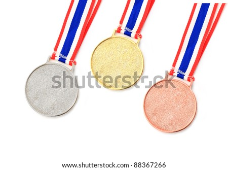 gold, silver, bronze Medal & Ribbon for 1-2-3 place isolated - stock photo