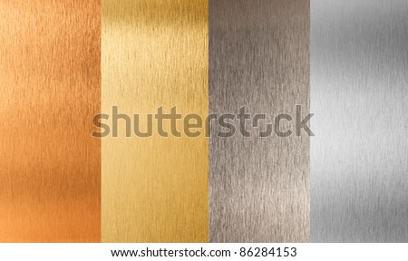 gold silver bronze nonferrous metal set - stock photo