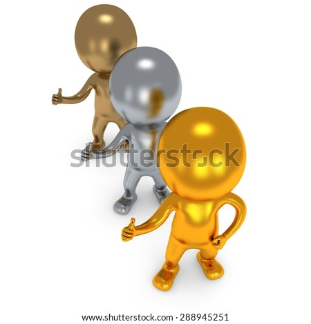 Gold Silver Bronze People showing thumbs up over white background. 3D render. - stock photo
