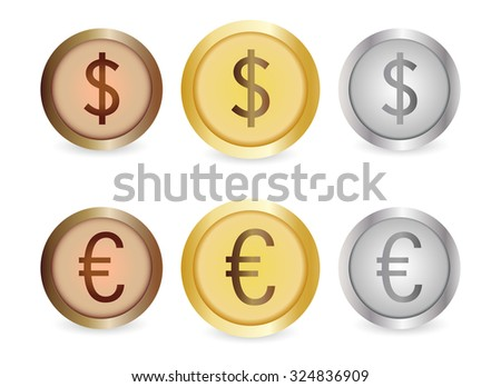 Gold, silver, copper coins dollar and euro  - stock photo