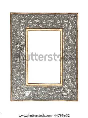Gold-silver metal frame isolated on white background - stock photo