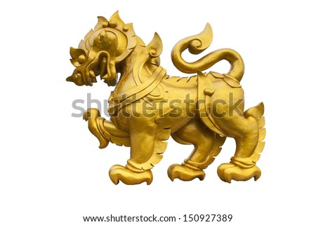 Gold Singha on white isolated