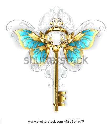 Gold Skeleton Key with gold butterfly wings, decorated with a pattern on a white background. Fashion jewelry. Gold key.  - stock photo