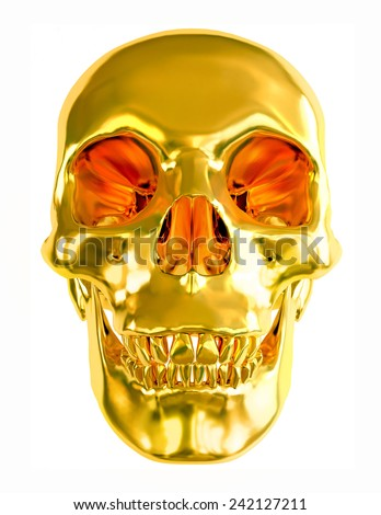Gold skull isolated on white background. - stock photo