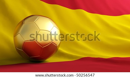 gold soccer ball of Spain - stock photo