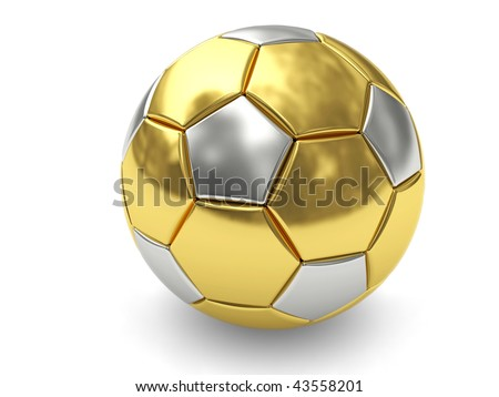 Gold soccer ball on white background rendered with soft shadows. High resolution 3D image - stock photo