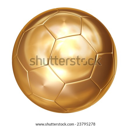 gold soccer ball on white separated path included - stock photo
