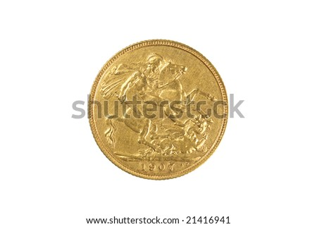 Gold Sovereign Reverse 1907 - stock photo