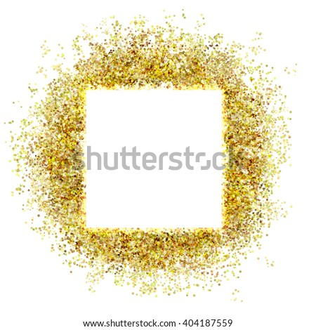gold sparkles and flashes with a white square - stock photo