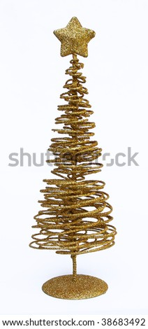 Gold sparkly Christmas tree - stock photo