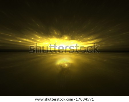 Gold Sparks Horizon - 3D Fractal Illustration - stock photo