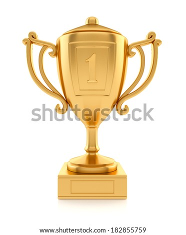 Gold sports champion cup. 3d rendered illustration. Isolated on white background. Clipping path included - stock photo