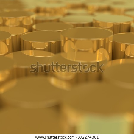 Gold. Stacks of gold packed together.