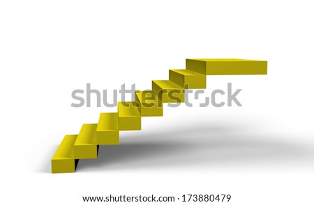 gold stairs  on a white background