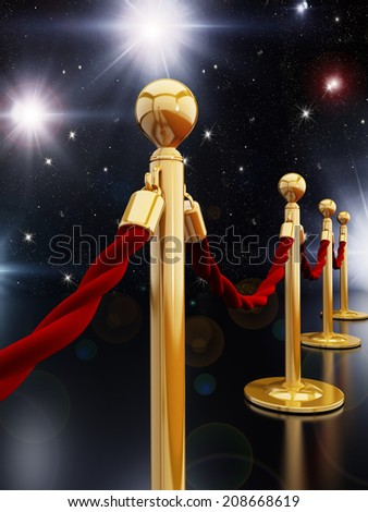 Gold stanchion posts and velvet ropes - stock photo